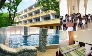 Нощувка на човек със закуска, обяд и вечеря + минерален басейн и 1 процедура на ден от хотел Загоре, <em>Старозагорски минерални бани</em>