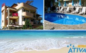 На Море в <em>Лозенец</em>. Нощувка за Двама или Трима + Басейн в Хотел Атива, на 5Мин. от Плажа!