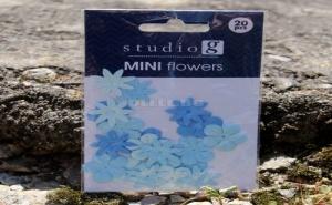 Комплект Сини Текстилни Цветчета за Декорация