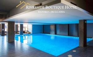 Нощувка на човек със закуска и вечеря + напитки + басейн и релакс пакет в хотел Ривърсайд**** , Банско.