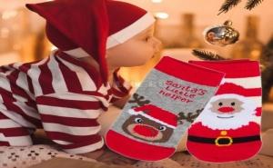 Сини Бебешки Чорапки със Снежинки и Снежен Човек