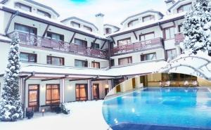 Нощувка на човек със Закуска и Вечеря + Басейн и Сауна в Хотел Евелина Палас****, <em>Банско</em>