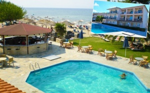 Семейна Почивка през Лято 2020 на 1-Ва Линия на о. <em>Тасос</em>! Нощувка на База All Inclusive за Двама с Две Деца + Басейн в Хотел Sunrise Beach***