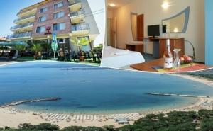 Ранни Записвания за Море 2020! Нощувка на човек със Закуска и Вечеря + Басейн в Семеен Хотел М2, <em>Приморско</em>