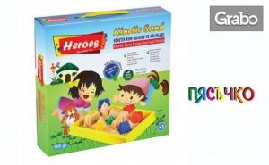 За Малчугана! Комплект за Игра с Кинетичен Пясък, Плюс Натурален Моделин в 5 Цвята
