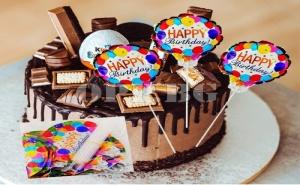 Мини Фолиран Балон Happy Birthday на Пръчка