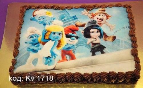Торта с картинка за детски рожден ден със свещички, надпис и кутия от виенски салон Лагуна