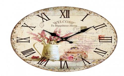 Стенен Винтидж Часовник Welcome To Happiness Home