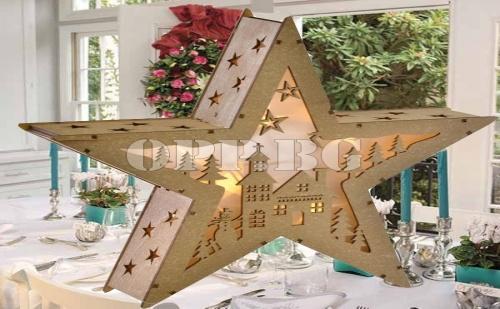 Красива Дървена Коледна Звезда с Светлини