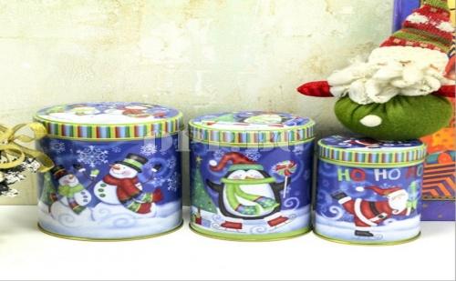 Сет от 3 Метални Коледни Кутии с Капаци