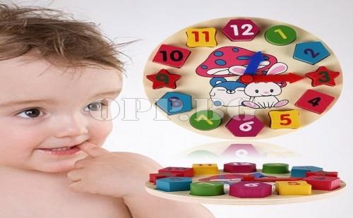 Детски Дървен Конструктор Часовник