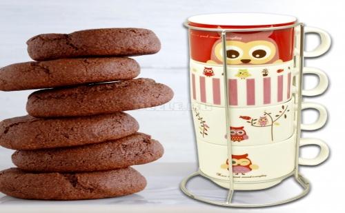 Комплект Керамични Чаши за Кафе или Чай на Метална Стойка