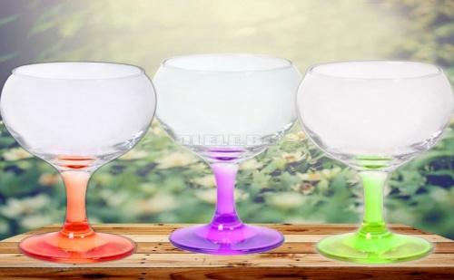 Сет от 3 Броя Чаши за Вино с Цветни Столчета