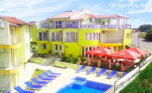 Цяло Лято в <em>Созопол</em> на 150М. от Плажа! 5 Нощувки за 2-Ма с 2 Деца или 3-Ма + Басейн, Шезлонг и Чадър в Семеен Хотел Морска Вила