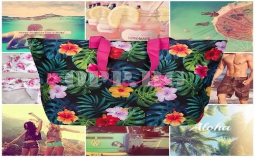 Плажна Чанта с Флорални Мотиви