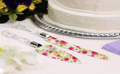 Комплект Нож и Лопатка за Торта на Цветя
