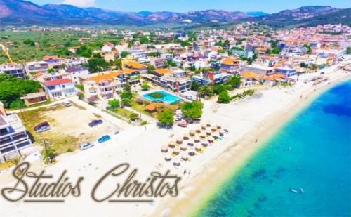 Цяло Лято в Christos Hotel Studios, на Самия Плаж в <em>Лименария</em>, Тасос! Нощувка Закуска и Вечеря + Басейн