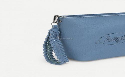 Синя дамска чанта Slogan Detail Wing Crossbody Bag