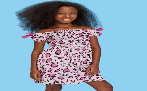 Детска рокля Girls Bow Embellished Off Shoulder Leopard Dress