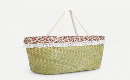 Романтична сламена чанта Calico Print Woven Design Straw Tote Bag