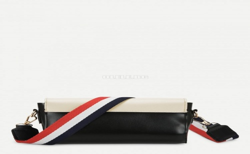Дамска чанта Two Tone Flap Shoulder Bag With Striped Strap