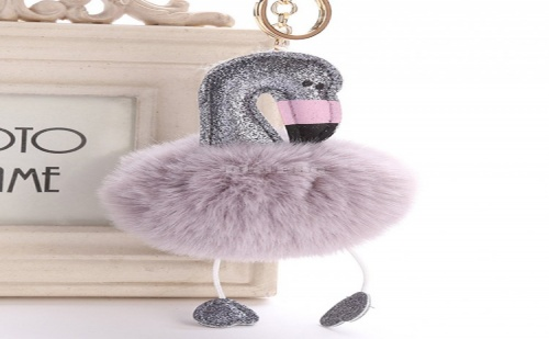 Ключодържател Фламинго Flamingos Pom Pom Keychain