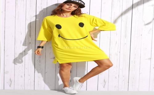 Дамска рокля тениска Print Drop Shoulder T-Shirt Dress