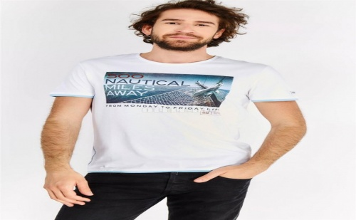 Мъжка тениска с принт White Printed T-Shirt