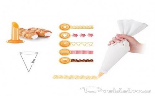 35 см. ленена торбичка за пош + 6 приставки Tescoma от серия Delicia