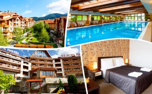 Нощувка на човек със закуска обяд* и вечеря + огромен басейн и СПА център в хотел Св. Иван Рилски****, Банско