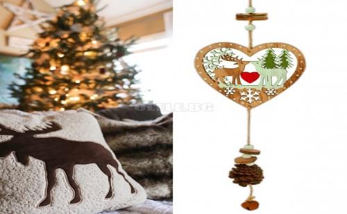 Висяща Коледна Декорация Сърце с Еленчета