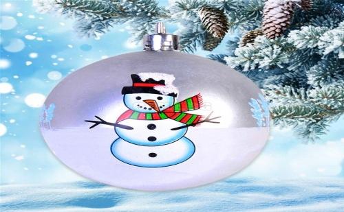 Комплект 4 бр Коледни Топки Сребърен Снежен Човек