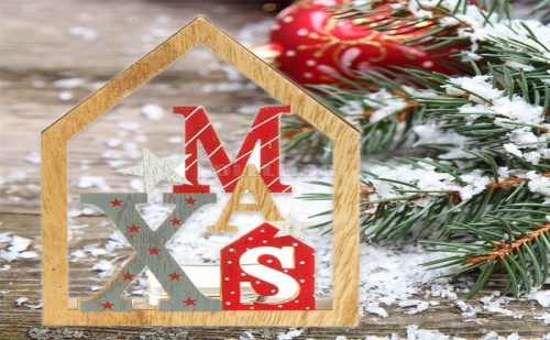 Декоративна Коледна Дървена Къщичка за Свещ Xmas