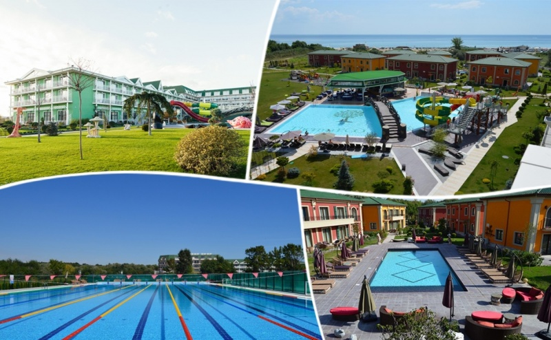 5+ нощувки на човек на база All inclusive + минерален басейн, аквапарк, шезлонг и чадър на плажа от комлпекс Терма Еко Вилидж, Кранево