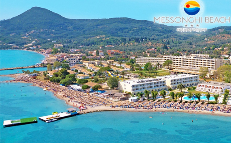 Нощувка на човек на база All Inclusive +АКВАПАРК + 4 басейна на първа линия на о. Корфу, Гърция в хотел Messonghi Beach!